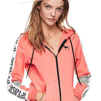 victoria s secret pink fashion zipper hooded long sleeved sweater stitching and female pink