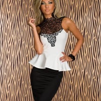 White Halter Neck Lace Sleeveless And Black High Waisted Pencil Skirt