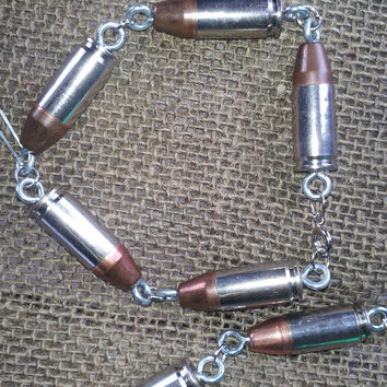 Nickle silver 40 ammo brass and bullet bracelet or choker