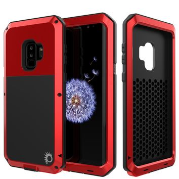 Galaxy S9 Plus Metal Case, Heavy Duty Military Grade Rugged Armor Cover [Red]