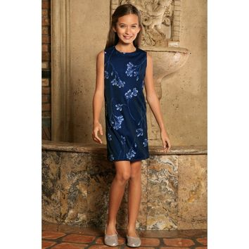 Navy Blue Floral Lace Beautiful Trendy Fancy Party Shift Dress - Girls