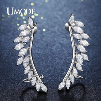UMODE Brand Design Fashion Feather Crystal Stud Earrings for Women Silver Color Jewelry Leaf Earrings Pins Brincos Femme UE0267