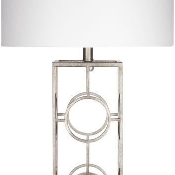 Isaac Glam Table Lamp Antiqued Silvertone White