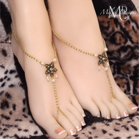 Gold Pearl Brass Barefoot Sandals Beach Wedding Bridal Foot Jewelry