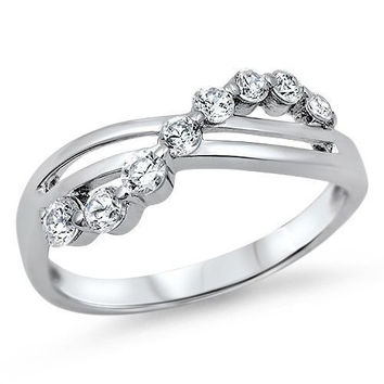 Sterling Silver CZ Infinity Journey Wedding Band Ring size 4-12