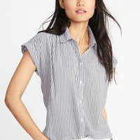 Relaxed Lightweight Cap-Sleeve Shirt for Women | Old Navy
