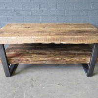 Industrial Chic Style Reclaimed Custom Coffee Table Tv Unit. Steel and Wood Metal Hand Made in Sheffield