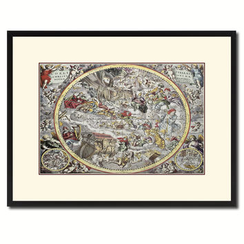 Christian Celestial Hemisphere Vintage Antique Map Wall Art Home Decor Gift Ideas Canvas Print Custom Picture Frame