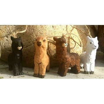 Hand-Carved Wooden Alpaca Ornaments