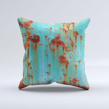 Teal Painted Rustic Metal ink-Fuzed Decorative Throw Pillow
