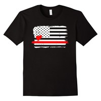 Thin Red Line American Flag Love T-Shirts - Men's T-Shirt