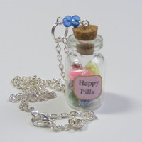 Happy Pills Necklace Pendant- Miniature Food Jewelry,Handmade Jewelry Pendant Necklace