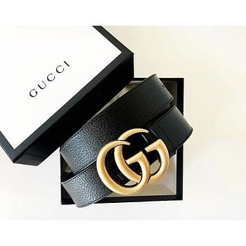 GUCCI tide brand men and women models simple fashion double G smooth buckle belt