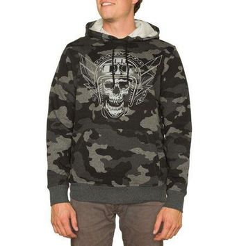 Men's Moto Skull Long Sleeve Pullover Graphic Hoodie