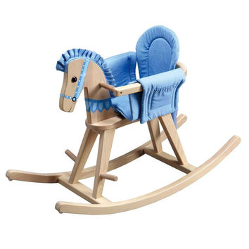 Teamson Kids- Safari Natural Rocking Horse with Blue Pad