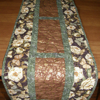 Quilted Table Runner Gold Embossed Butterflies and Flowers