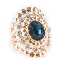 Blue Sapphire Vintage Inspired Glam Ring