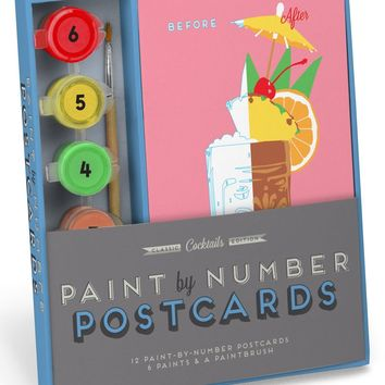 Cocktails Paint-By-Number Postcards Kit