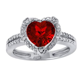8MM Heart Red Ruby Diamond Accent 925 Sterling Silver Ring