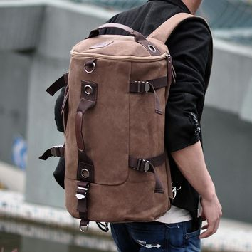 MAN KOO MK Korea Mens Canvas Backpacks Fashion School Bag Large Letter Print Daypack T