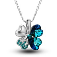 MagicPieces Clover Pendant Rhinestone Necklace Swarovski Element Heart Shape Color Blue