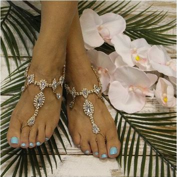 TIFFANY wedding barefoot sandals - gold
