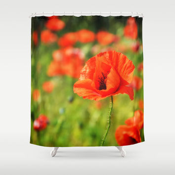 Poppy Shower Curtain by Pf_photography