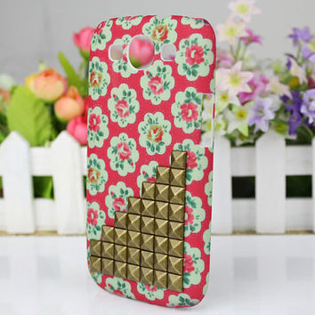Dot Small Rose  Hard Shell And Bronze Stud for Samsung Galaxy S3 i9300