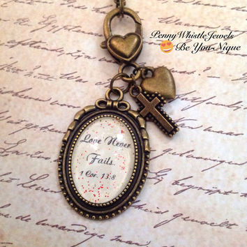 Bible Verse Necklace, 1Corinthians 13:8, Bible Verse Jewelry, Scripture Necklace, Scripture Jewelry, Christian Jewelry, Religious Jewelry