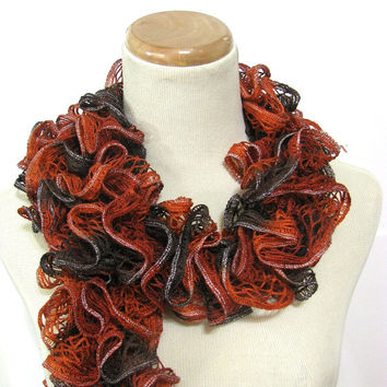 Hand Knit  Scarf Ruffle Scarf- Orange Rust Brown