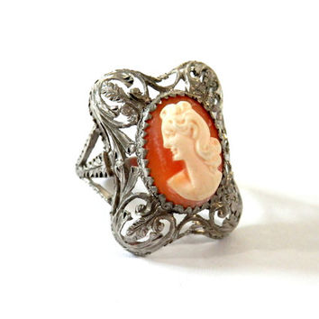 Antique Cameo Ring in Filigree Sterling Frame European
