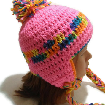 Crochet Ear Flaps Beanie Hat in Hot Pink and Rainbow with Pom Pom Medium