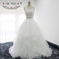 Rose Moda Fashion Two Pieces Boho Wedding Dress Lace Top Organza Ball Gown Summer Bridal Dresses