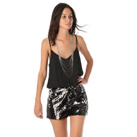 ROMPER WITH SPARK SEQUIN SHORTS