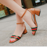 Sandals female summer new rough heels toe fashion shoes