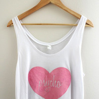 Pink Psycho Heart Graphic White Flowy Crop Tank