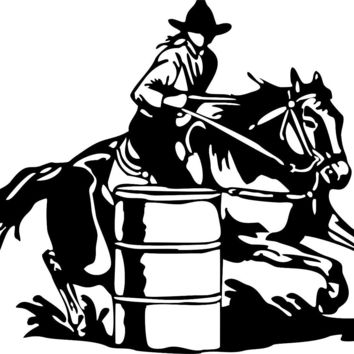 Large Barrel Racing Cowgirl Rodeo Horse Car Truck Window Vinyl Decal Sticker free shipping
