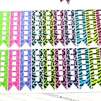 24 Animal Print Checklist Flags Stickers! for Erin Condren Life Planner, can be customized for Filofax, Plum Paper & other planner! #SQ00139
