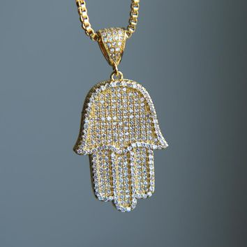 Iced Out Hamsa Hand Pendant Necklace