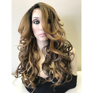 "Balayage Mixed Blond Human Hair Blend Multi Parting lace front wig 22"" - Dori"