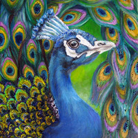 Print of Original Oil Painting - Peacock with Abstract Free Flowing Tail