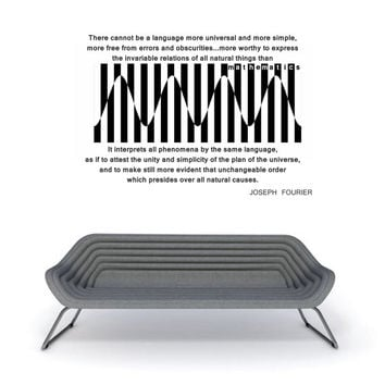 Science art - Fourier quote and Harmonics transformation vinyl wall decal for your lab classroom school university scientific decor