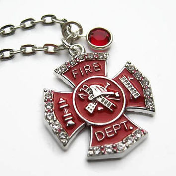 Fire Department Necklace, Personalized Birthstone Jewelry, Fire Necklace, Firefighter Jewelry, First Responder Necklace, Choose Length,