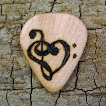 ONE ENGRAVED Wooden Guitar Pick - Musical Heart Design or Other Designs Available