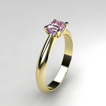 Pink imperial topaz engagement ring, emerald cut, white gold, yellow gold, pink engagement, solitaire, wedding ring, unique, collector piece