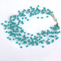 Teal  Necklace. Wedding Necklace. Beadwork.  Multistrand Necklace.