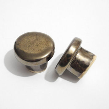 Designer Dresser Knobs, Small Round knobs, Cabinet Knobs, Handmade Ceramics in Antique Bronze