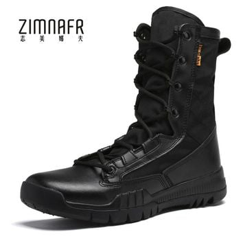 Military Boots Men Black Leather Motorcycle Boots Winter Tactical Boot Male Footwear Bota Masculina Militar Steel Toe Work Shoes
