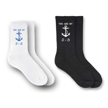 You are my Anchor - His and Hers Personalized Matching Socks - 2 Pair Set - PERSONALIZED