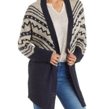 Navy Combo Geo Print Cardigan Sweater by Charlotte Russe